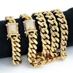 Harlembling 18k Gold Diamond Bracelet & Chain Set